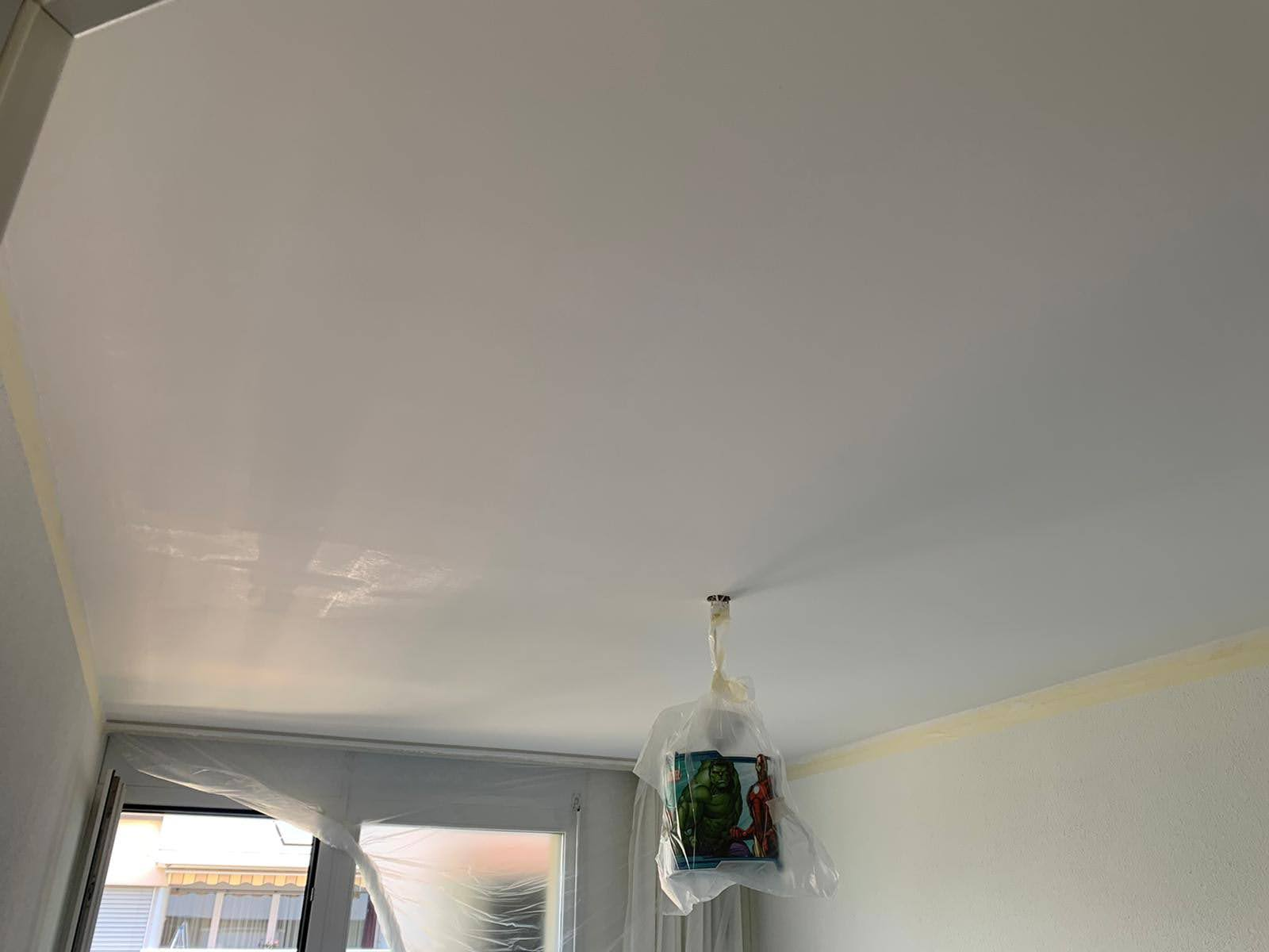 Plafond en phase de séchage
