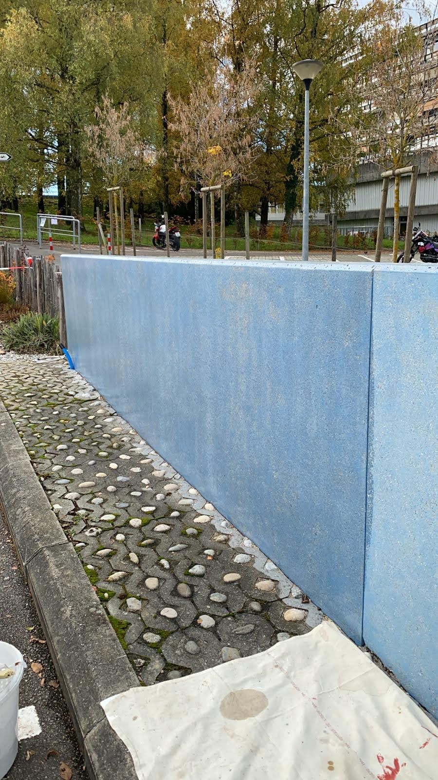 Traitement anti-graffiti (la teinte va s'éclaircir au séchage)
